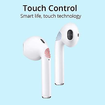 TWS i12 Touchscreen Wireless Bluetooth Headset, Wireless Headset IPX6 In-Ear Headset Waterproof Bluetooth Earphones Waterproof with MIC Compatible with All Devices-White