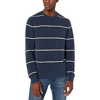 Merkki -Goodthreads Men's Soft Cotton Ottoman Stitch Crewneck Villapaita, Navy Heather Grey Stripe XX-Large
