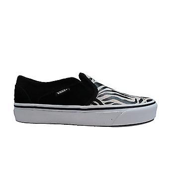 Vans WM Asher Metallic Zebra Print Canvas Womens Slip On Sneakers
