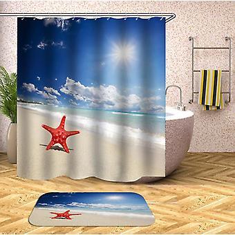 Pojedynczy rozgwiazda na plaży prysznic kurtyna