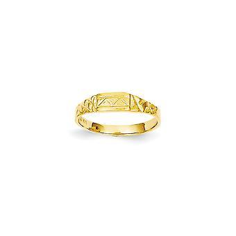 14k Gult Guld Fast Baby Triangletextured Ring Storlek 3.50 - 1.3 Gram