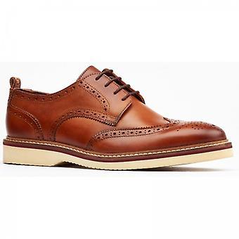 Base London Marcello Mens Leather Brogue Shoes Tan