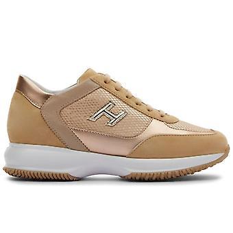 Women's Sneaker Hogan Interaktiv Beige och Koppar mocka och tyg