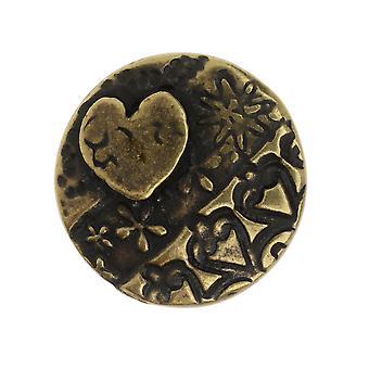 Pulsante TierraCast, amor round 16.5mm, 1 pezzo, finitura in ottone ossido