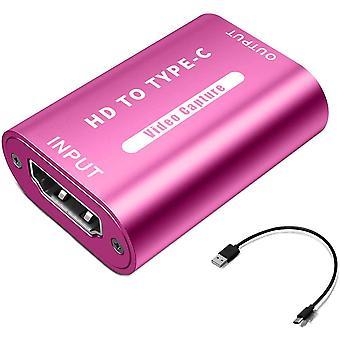 FengChun HDMI-zu-USB 2.0-Videoaufnahmekarte (Rose), 1080P Aufnahme über DSLR-Camcorder oder