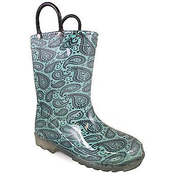 Raios de borracha de montanha esfumaçada de dedo do pé chuva impermeável botas de PVC turquesa