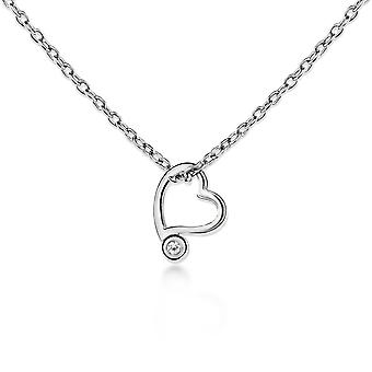 Lily & Lotty For Girls Sterling Silver 0.01ct Diamond GEORGIA Love Heart Water Drop Necklace