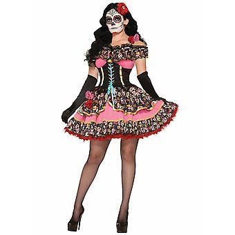 Day Of The Dead Senorita Mexican Spanish Skull Ghost Halloween Women Costume