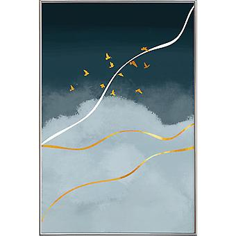 JUNIQE Print - Gold Exposure - Birds Poster in Blue & Gold