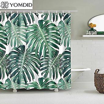 Vihreille trooppisille kasveille suihkuverhot Kylpyhuone Polyesteri Vedenpitävä Suihku (180 * 180CM) WS20990