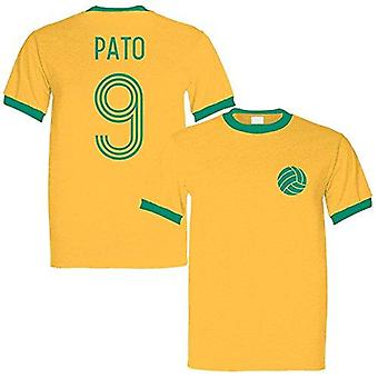 Sporting empire alexandre pato 9 brazil legend ringer retro t-shirt yellow/green