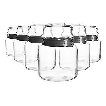 6x Sera Glass Storage Jars Kitchen Sweet Candy Food Pots Sealed Lid 635ml Black