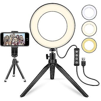 """Led Ring Light 6"""" With Tripod Stand Mini Led Camera Light With Cell Phone Holder"""