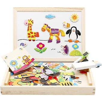Wooden Educational Toys Magnetic Art Easel Animals Puzzles Games