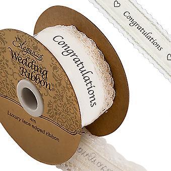 4m White Wedding 'Gratulerer' 38mm bred bomull bånd med Laced kant