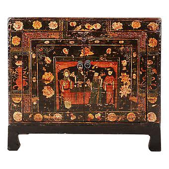 Fine Asianliving Antikk Kinesisk Skap Håndmalt W88xD38xH77cm