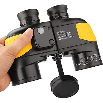 BAK4 military nautical binoculars 7x50, with rangefinder - distance measurement with the compass, large lens for wide fields,(yellow)