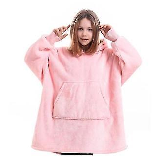 Blanket Pullover Children Can Wear Hooded Blanket Pockets(Pink1)