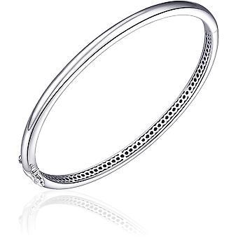 Gisser Jewels - Pulsera - Bangle Half Ball Polished - 4mm De Ancho - Tamaño 68 - Rhodium Silver 925