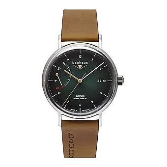 Bauhaus 2160-4 Green Dial With Brown Leather Strap Wristwatch