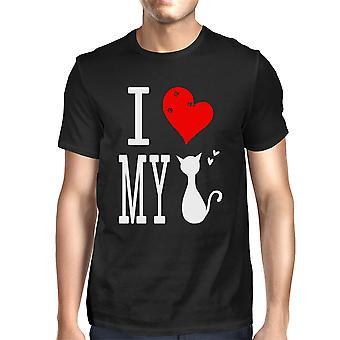 Schattig grafische Statement T-Shirt voor mannen - Ik hou van mijn kat Graphic Tee zwart