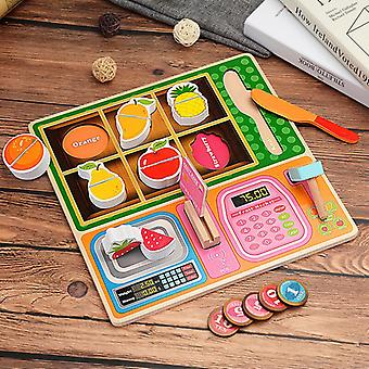 Children's Wooden Kitchen Toys Pretend To Play With Puzzles, Cut Fruits, Vegetables, Animal Foodc