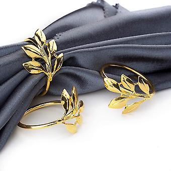 6pcsゴールドナプキンリングラウンドナプキンホルダーは、結婚式、誕生日ディナーパーティー、家族の集まり、テーブルデコレーション(金のリーフリング)