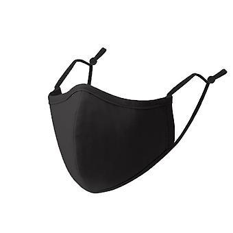 3 rétegű újrafelhasználható pamut maszk Egy méret illeszkedik a teljes légáteresztő, biztonságos és kényelmes fekete