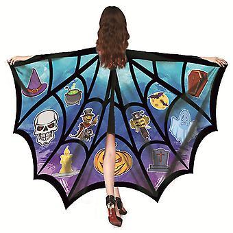 Halloween Cosplay Bat Wing Spider Net Cape Cloak középkori boszorkányság Cape Cloak
