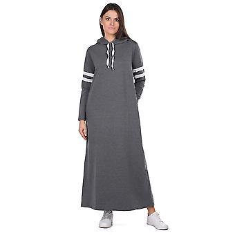 hette grunnleggende lang mørkegrå kvinners svette kjole