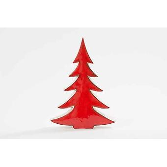 Red Ceramic Xmas Tree Christmas Decoration 28cm