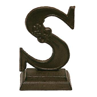 Iron Ornate Standing Monogram Letter S Tabletop Figurine 5 Inches