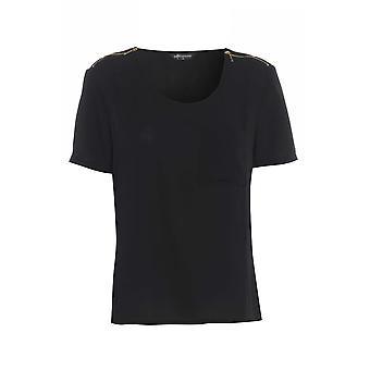 Internacionale Schwarzes T-Shirt mit Schulter-Reißverschluss TP549-12