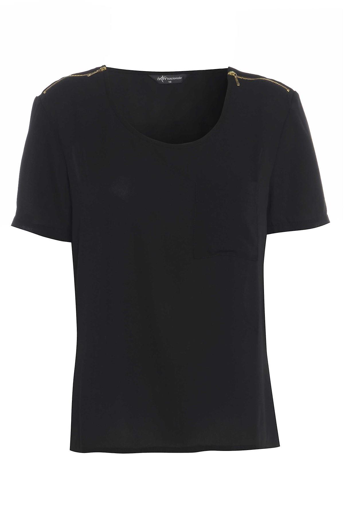 Internacionale Black Tee with shoulder zip detail TP549-12