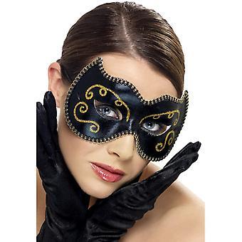 Oko maski karnawał Wenecji Rondo Veneziano czarnego Złota Maska