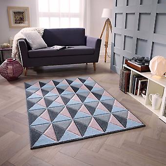 Portland 6994 Z rosa blå grå rektangel mattor moderna mattor