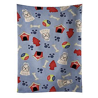 Dog House Collection Shih Tzu Silver White Kitchen Towel