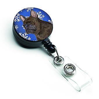 French Bulldog Winter Snowflakes Holiday Retractable Badge Reel