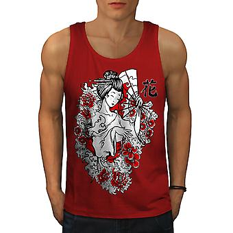 Girl Flower Power Men RedTank Top | Wellcoda