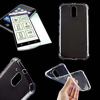 Silikoncase transparant + 0.3 H9 getemperd glas voor gevaldekking van Motorola Moto G4 2016 tas