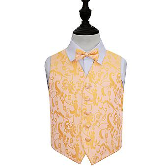 Gold Floral Wedding Waistcoat & Bow Tie Set for Boys