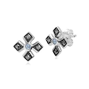 Art Deco Style Round Aquamarine & Marcasite Gothic Style Cross Studs in 925 Sterling Silver 214E859708925