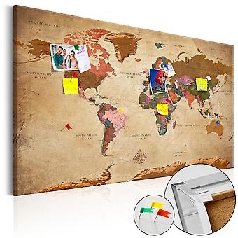 Decorative Pinboard - World Map: Brown Elegance [Cork Map]