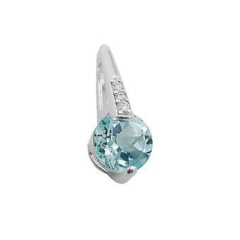 Ciondoli argento ciondoli synth. Blu topazio zircone 925 sterling silver
