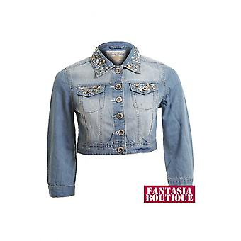 Новые дамы длинный рукав джинсовые Diamante воротник Топ женщин культур куртка
