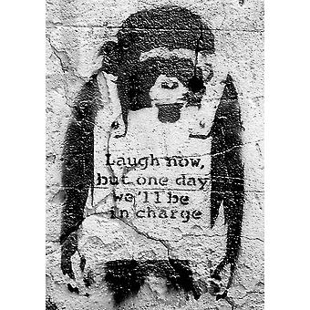 Banksy Poster Monkey Laugh now, but one day we'll be in charge small size 59 x 42 cm