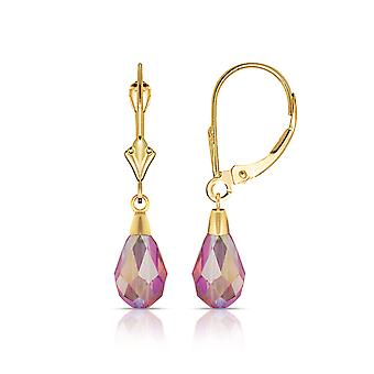 14k Yellow Gold Light Rose 9x6mm Crystal Pear Drop Leverback Boucles d'oreilles Mesures 29x6mm Bijoux Cadeaux pour les femmes