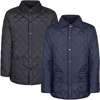 Soul Star Mens Diamond Quilted Cord Collar Padded Winter Country Jacket Coat