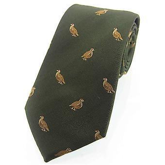 David Van Hagen Grouse geweven land zijden stropdas - groen