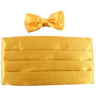 Knightsbridge-Krawatten-Fliege und Kummerbund Set - gelb